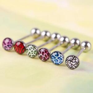 6Pcs-Mixed-Color-Leopard-Print-Tongue-Lip-Ring-Bar-Stud-Body-Piercing-Jewelry-ED