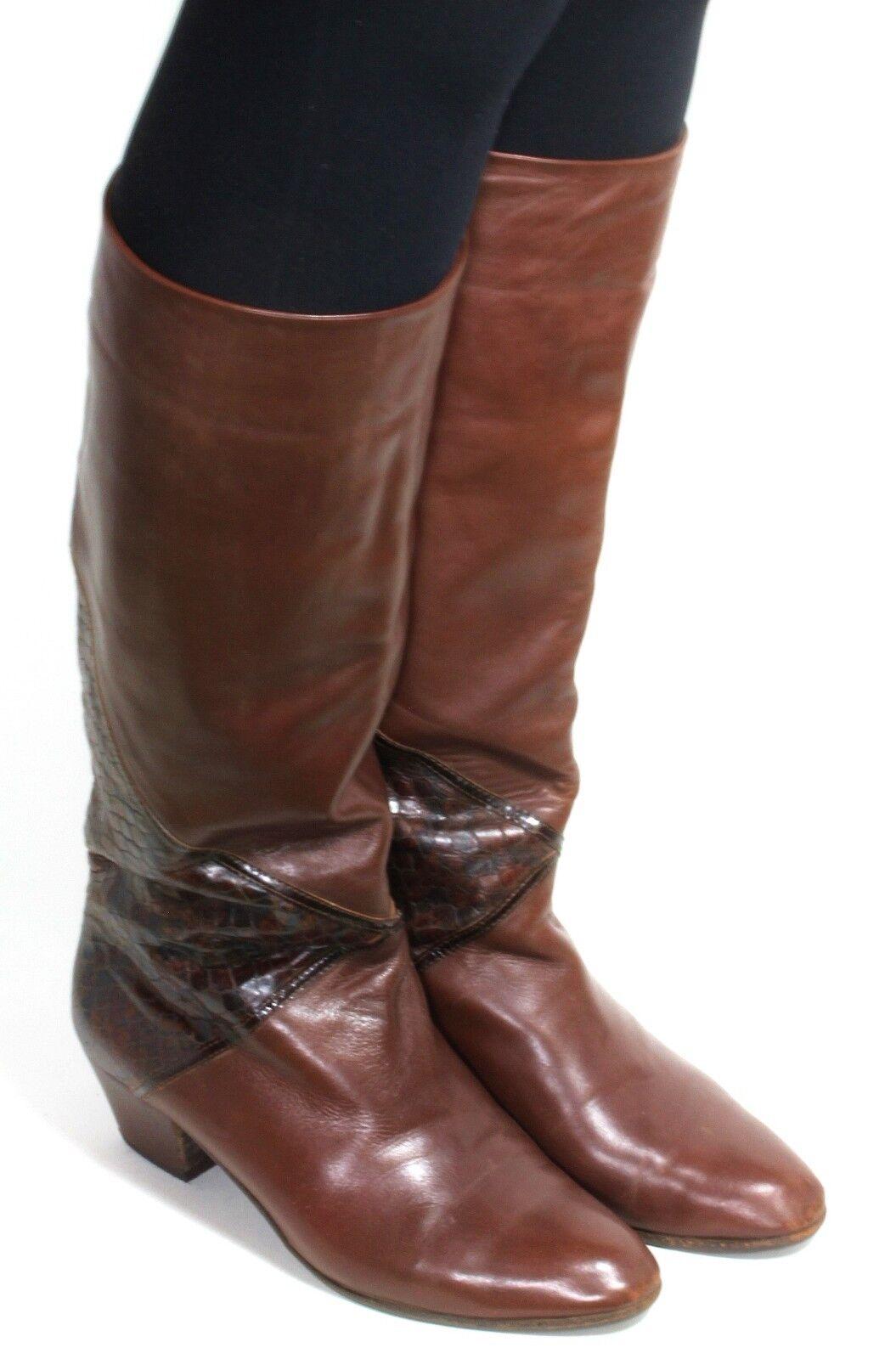 Damenstiefel vintage Stiefel Leder Blogger Hipster Krempelschft Reptil Heel 38,5