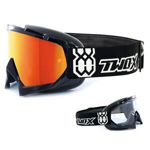 Two-X-Race-Crossbrille-Mx-Enduro-Occhiali-Nero-Vetro-Specchio-A-SPECCHIO-IRIDIUM