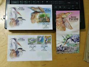 Malaysia-2015-Wild-Birds-Heron-Bitterns-Burung-Pucung-stamp-MS-FDC-set-pair