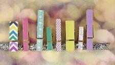 Prima New CHA 2013 Wood Clip Embellishments 8 PIECES Hello Pastel