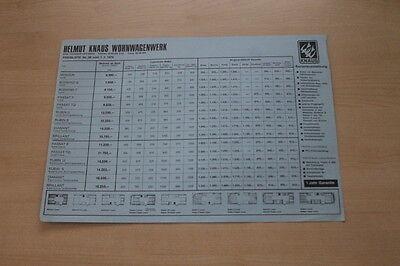 Knaus Wohnwagen 178057 Modellprogramm Preisliste Prospekt 01/1976 Entlastung Von Hitze Und Sonnenstich