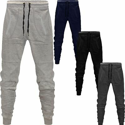 New Mens Fleece Skinny Slim Fit Joggers Jogging Bottom Striped Gym Pants Pockets