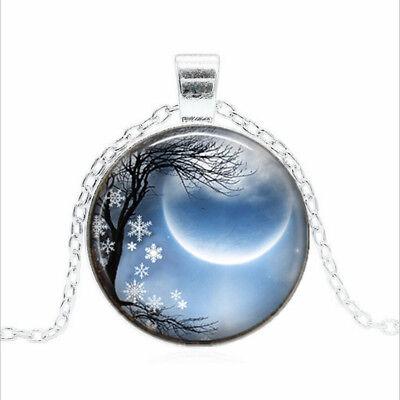 Winter Solstice Black Glass Cabochon Necklace chain Pendant Wholesale