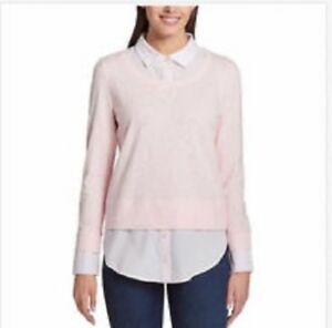 Shop Tommy Hilfiger Ballerina Pink Layered Look Sweater L