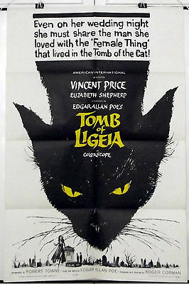 TOMB OF LIGEIA -VINCENT PRICE / EDGAR ALLAN POE- ORIGINAL USA 1SHT MOVIE POSTER