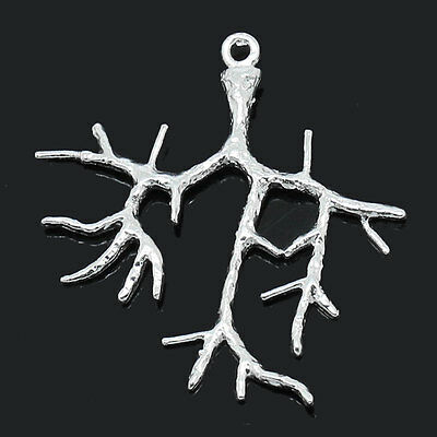 5 PCs Charm Pendants Branch Silver Plated 28mmx28mm-31mmx28mm
