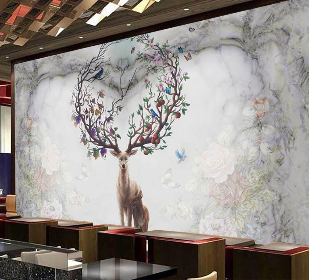 Mountains Of Sika Deer 3D Full Wall Mural Photo Wallpaper Print Home Kids Decor