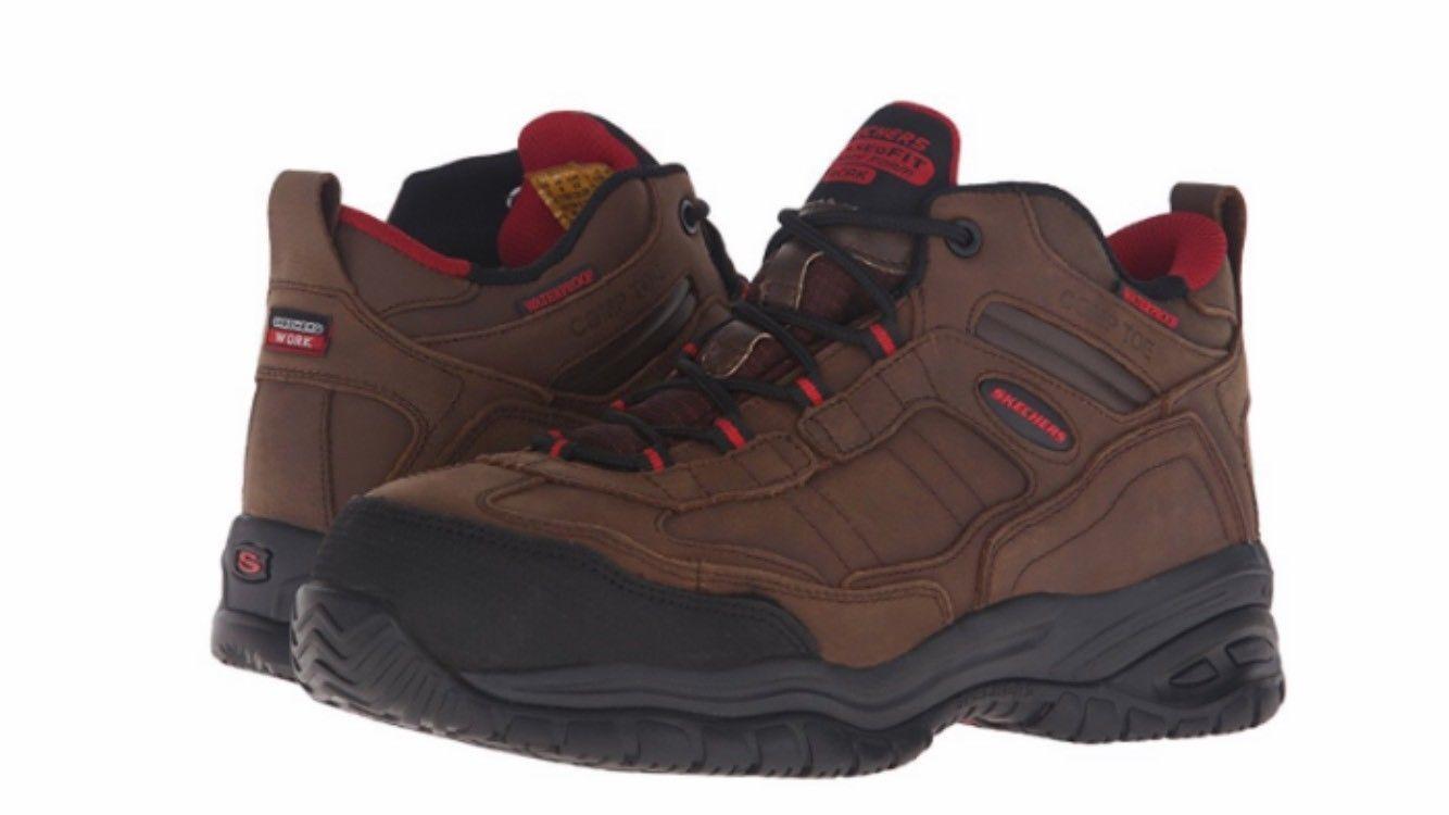 Skechers for Work Mens 77082 Soft Stride Gilbe démarrage Dark marron  Composite Toe