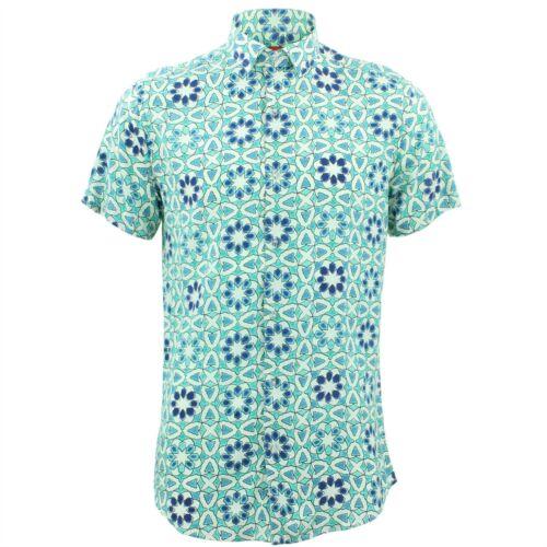 Mens Psychedelic Fancy Loud Originals Coupe Tile Green Shirt Sur Retro Mesure bY7gvf6y