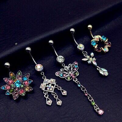 5x Bundle joblot belly bar dangle set Ladies navel gift jewellery body new J63