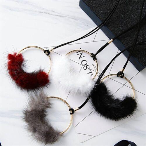 Declaración Joyería De Piel De Regalo Largo Pom Bola Colgante Collar Sweater Cadena