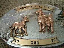 COMSTOCK GERMAN SILVER SILVERSMITHS BELT BUCKLE RODEo Boot Hill 1980