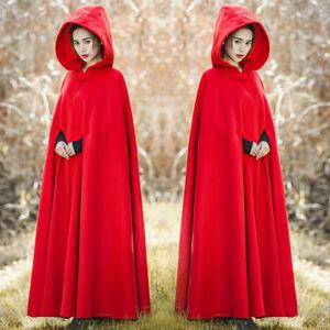 Womens-Retro-Wool-Blend-Hooded-Shawl-Cloak-Coat-Casual-Full-Length-Overcoat