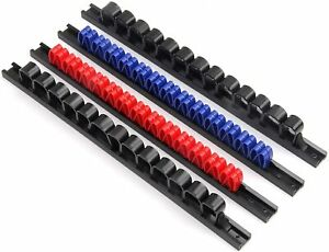 4-Piece Wall Mount Screwdriver Organizer Wrench Holder Rail Racks 52 ABS Clips