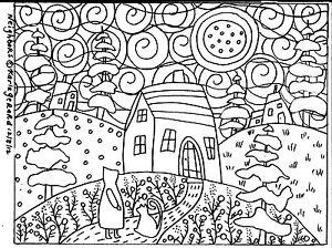 RUG HOOK CRAFT PAPER PATTERN Neighbors FOLK ART ABSTRACT PRIM Karla Gerard