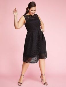 0b3cab45eb9 Lane Bryant Plus Black SLEEVELESS Geo Lace Fit   Flare Cocktail ...