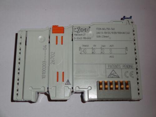 10 VDC; 10 bits; 100 mW//24 V Wago 750 560 2-channel analog output; 0 ..