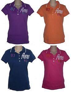 Womens-AEROPOSTALE-Aero-NYC-Graphic-Jersey-Polo-Shirt-NWT-6336