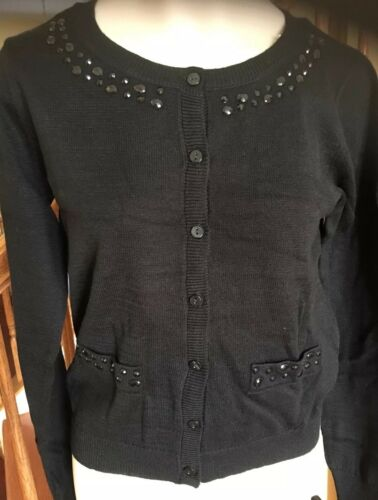 NWT Girls Justice Size 14 Black Button Down Long Sleeve Sweater w//Rhinestones