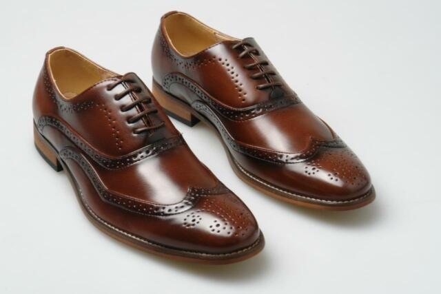 Mens New Brown Leather Lined Smart Formal Brogues Shoes 6 7 8 9 10 11 12