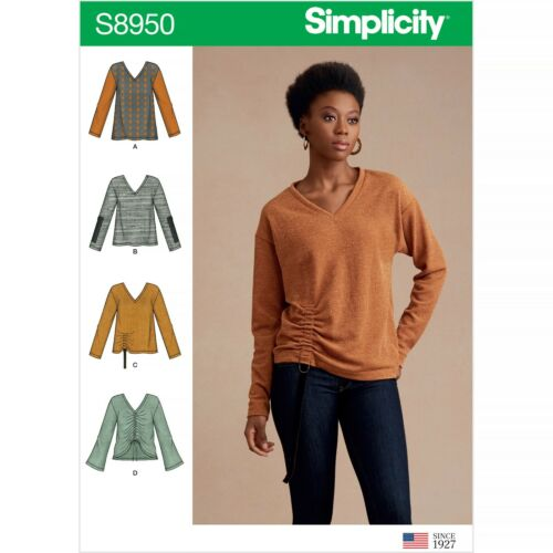 SIMPLICITY SEWING PATTERN S8950 MISSES/' KNIT SWEATER TOPS WITH VARIATIONS
