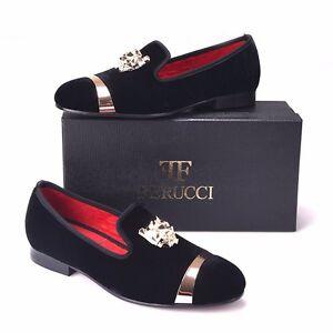 Men FERUCCI Black Slippers Loafers Flat