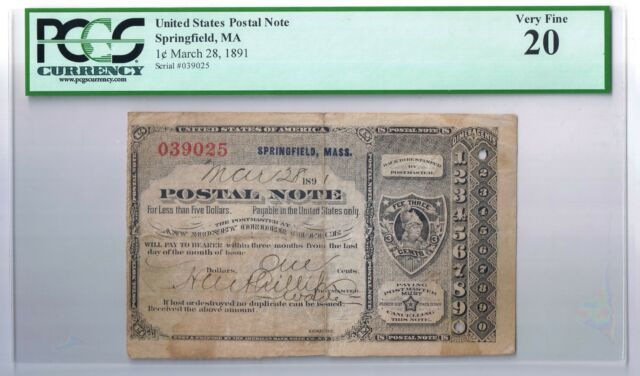 Type 4 United States Postal Note Springfield Massachussets MA T IV PCGS VF 20