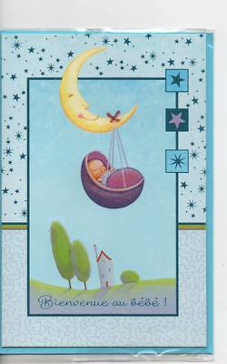 Carte Félicitations.bienvenue Au Bébé Lune Avec Bébé Paysage 18,5 X 12,5 Cm