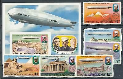 Methodisch 234924 Luftfahrt Madagaskar Nr.783-8+bl.11a** Zeppeline Dinge FüR Die Menschen Bequem Machen