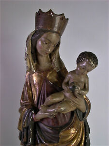 Holz-geschnitzte-Marienfigur-Madonna-mit-Jesuskind-56cm