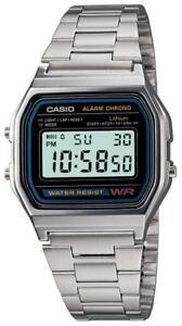 Orologio-CASIO-A158WA-1DF-Uomo-Donna-Unisex-VINTAGE-Classico-Acciaio-Sveglia-DSI