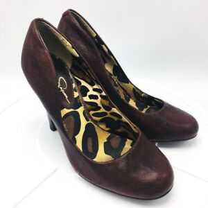 4192334ab552 Jessica Simpson Sexy High Heel Pumps Shoes Brown Leather 6M Wood ...