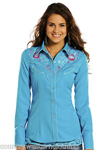 2daba975fa177 Image is loading Ladies-Western-Embroidered-Cowgirl-Shirt-Panhandle -Enchanted-Bouquet