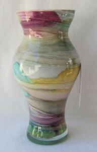 Genuine Italian Art Glass Vase Franco Italy Pastel Rainbow Colors No 509