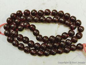 "GARNET Big 6.5mm Round Gemstone Beads 14"" strand Grade ""B"""
