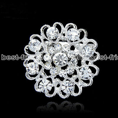 Charm Rhinestone Silver Tone Diamante Crystal Heart Flower Brooch Pin Party Gift
