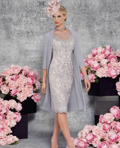 Grey Mother Of The BrideGroom Outfits With Jacket Knee Length Formal Dress 620