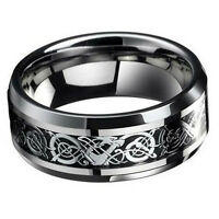 #8 Cool Titanium Stainless Steel Men's Silver Celtic Dragon Wedding Band Rings