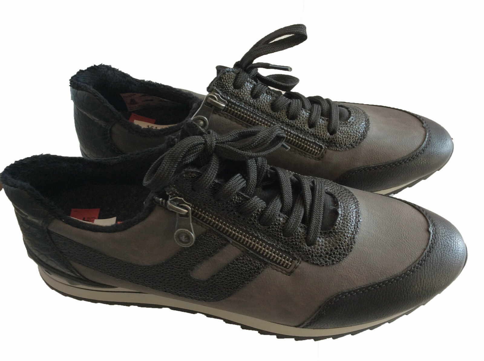 Rieker Halbschuhe Sneaker Schwarz Grau Schnürschuh Turnschuh Damen Schuhe 161154