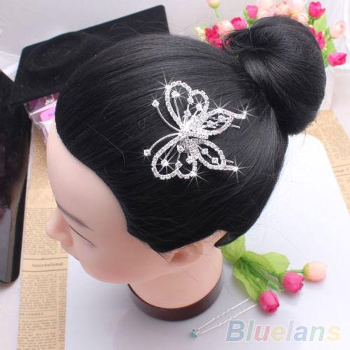 Fashion Womens Silver Butterfly Rhinestone Hair Comb Clip Wedding Bridal Jewelry