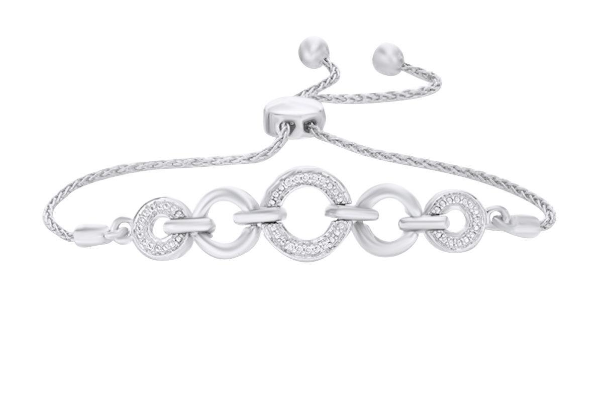 0.07 CTW Round Natural Diamond Accent Circle Bolo Bracelet