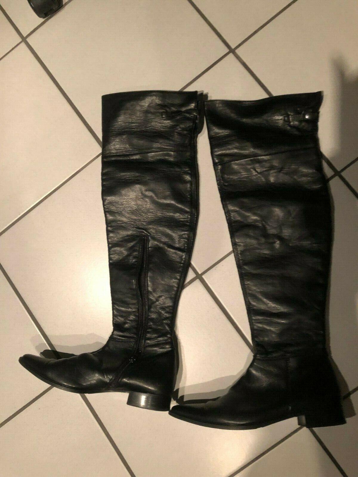 Paul Grün Damen  Stiefel dG 40 Langschaftstiefel Overknees Schuhe schwarz
