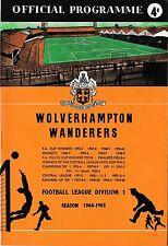 Football Programme>WOLVES v ASTON VILLA Feb 1965 FAC