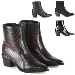 Womens Cuban Heel Chelsea Ankle Boots Sz 3-8