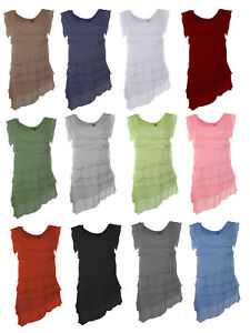 Womens-Italian-Ladies-Frill-Layered-Silk-Lagenlook-Ruffle-Tiered-Sleeveless-Top
