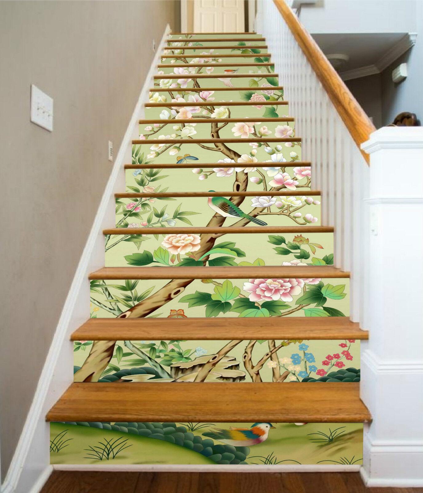 3D blueme Baum 217 Stair Risers Dekoration Fototapete Vinyl Aufkleber Tapete DE