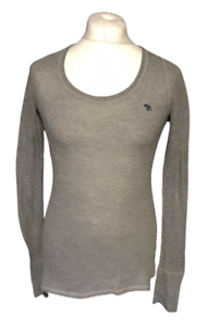Abercrombie-amp-Fitch-Women-039-s-Casual-T-Shirt-Grey-Long-Sleeve-Large-Stretch