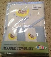 My Baby Hooded 5 Piece Towel Set Boys Blue & White W/bear Supersoft Terry