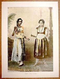 DANSE-DU-VENTRE-en-Egypte-Photochromie-fin-19eme-gravure